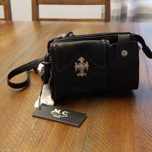 Small black leather purse